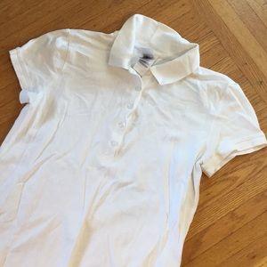 NorthFace cotton white polo style ladies top Large